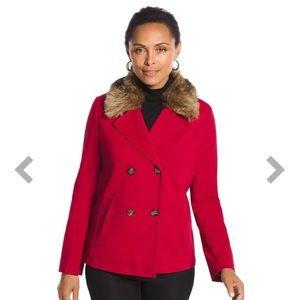 Chico's faux-fur collar and ponte fabric pea coat